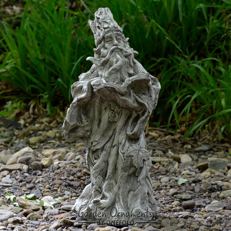 Gnome In Garden: WIZARD GREEN MAN GNOME Cast Stone Garden Ornament Statue