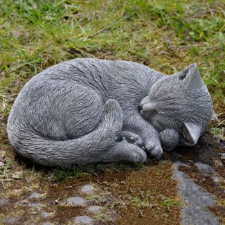 sleeping cat garden ornament