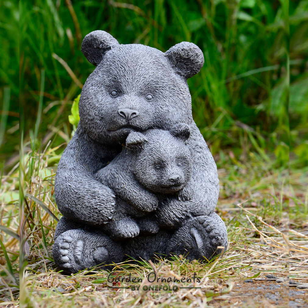 PANDA BEAR Hand Cast Stone Animal Garden Ornament Statue
