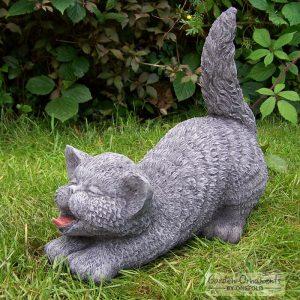 tail up cat garden statue