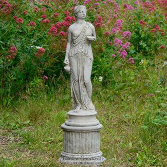 dish girl garden statue