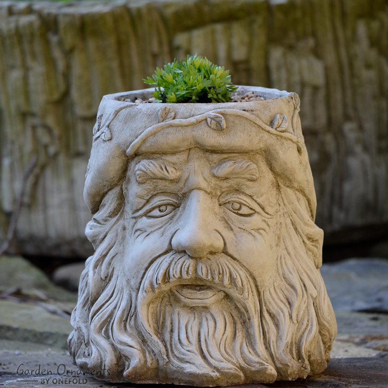 Wizard flower pot garden ornament for Flower garden ornaments