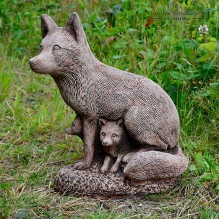 Fox Family Garden Ornament