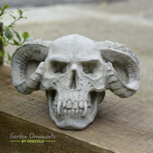 Horned Skull Garden Ornament