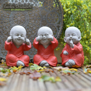 3 Little Monks Hand-painted Japanese Garden or Indoor Statue