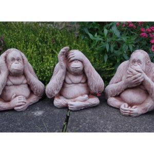 Wise Monkeys Speak See Hear No Evil Garden Ornament
