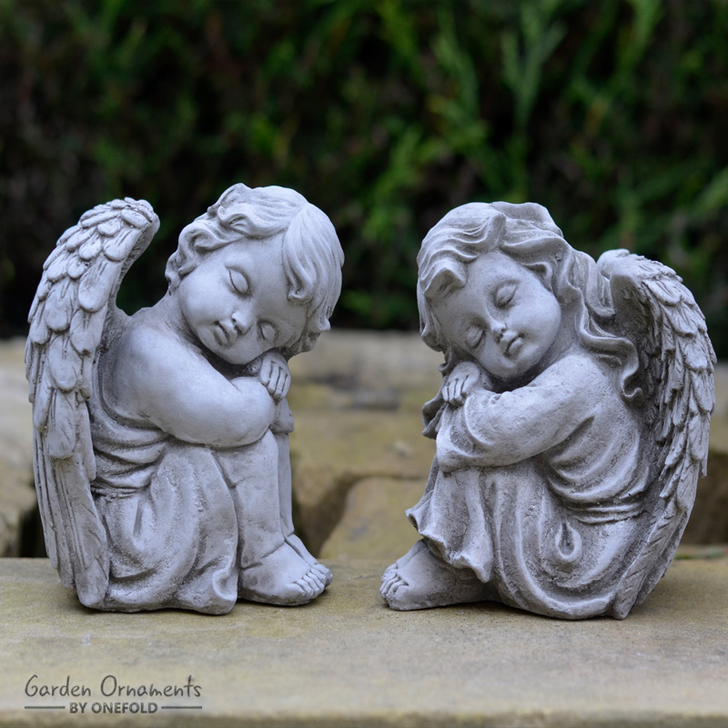 Resting Angels Pair Small Garden Statue 1