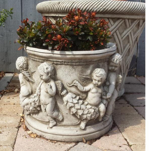 Cast Stone Cherub Pot Planter