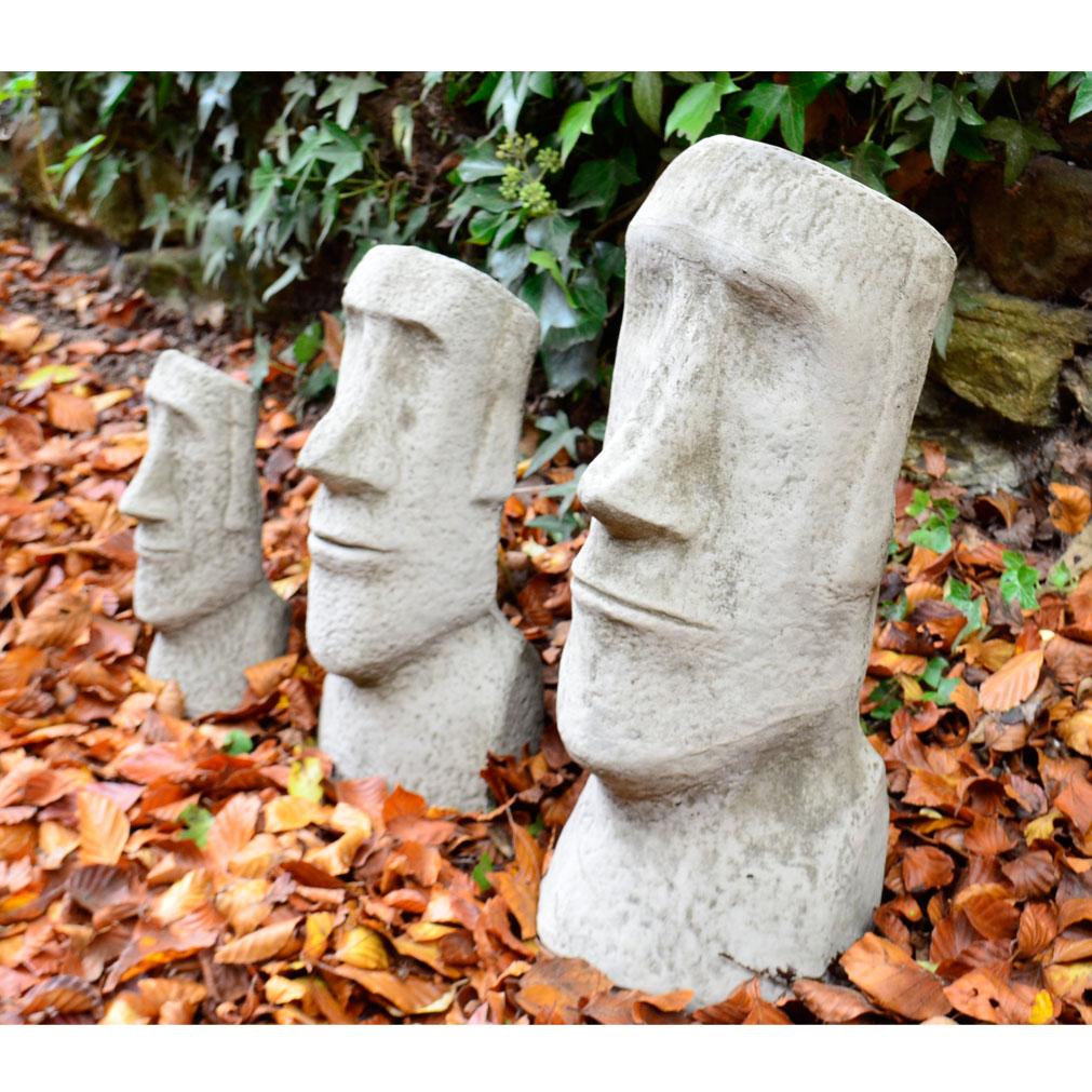 Moai Head Cast Stone Garden Ornament – set of 3 1