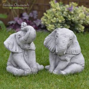 Elephants Pair Hand Cast Stone Garden Ornament
