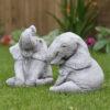 Elephants Pair Hand Cast Stone Garden Ornament