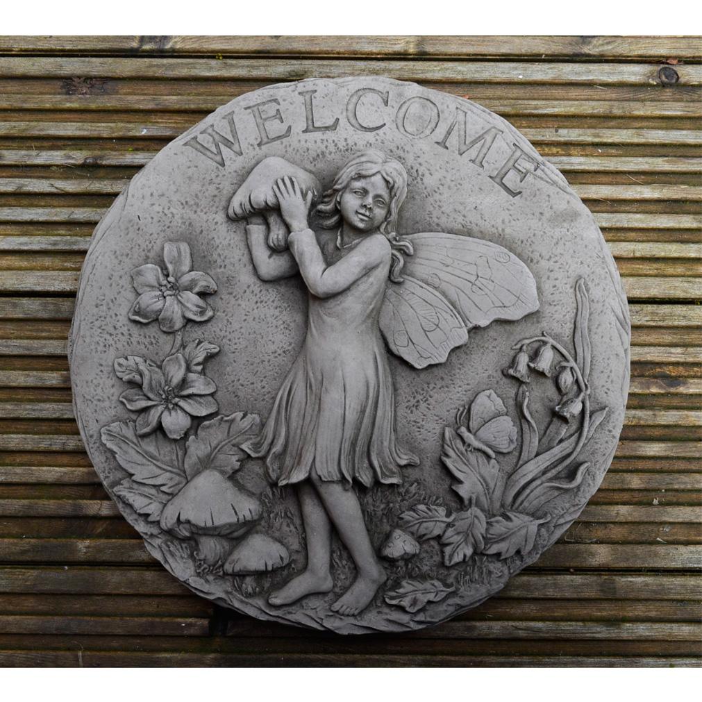Stone Garden Plaque – Welcome Sign Fairy 1