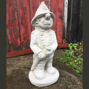 Fireman Garden Statue Hand-Cast Stone