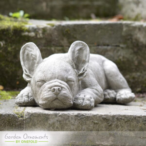 Sleeping French Bulldog Puppy Garden Statue