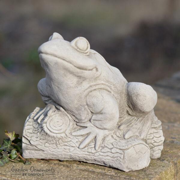 Frog on Log Garden Ornament