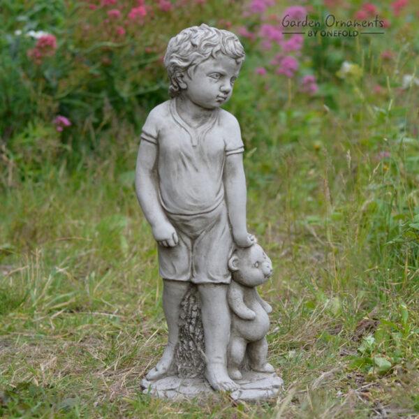 Boy with Teddy Garden Statue