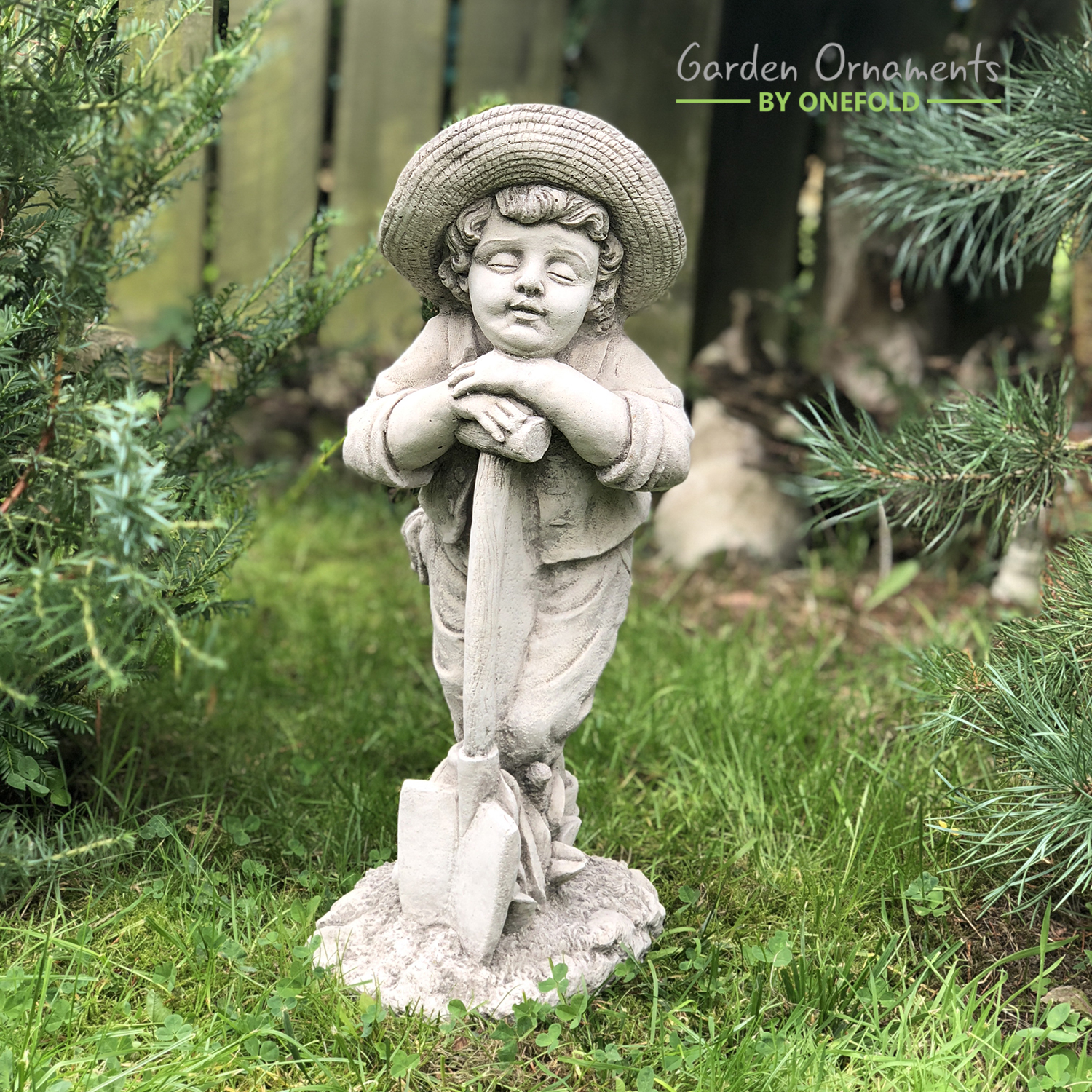 Farmer Boy Stone Garden Ornament 1