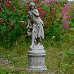 Slave Girl Stone Garden Statue on Column