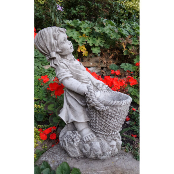 Girl with Basket Cast Stone Planter