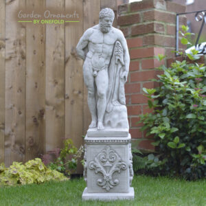Large Hercules on Plinth Garden Statue