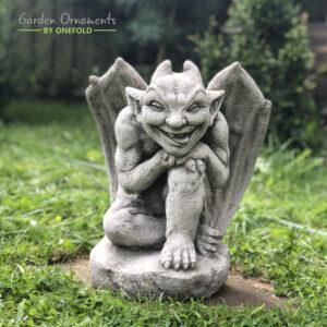 Horned Gargoyle Garden Ornament