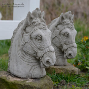 Horse Head Pillar Cap Pair Stone Garden Ornament