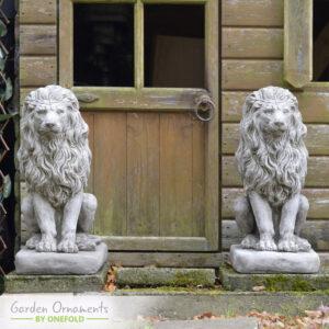 Large Lion Garden Statue Pair