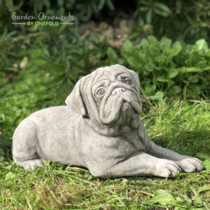 Lying Pug Dog Garden Statue Ornament