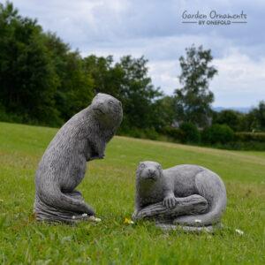 Otter Pair Garden Ornament Statue