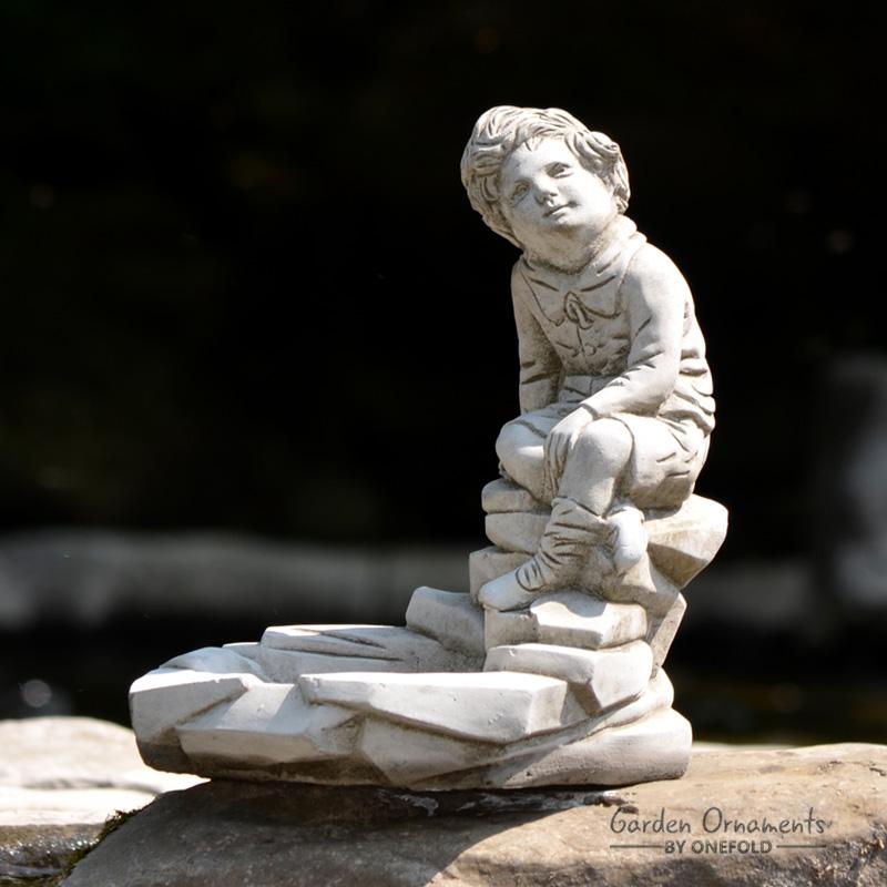 Pebble Boy Garden Statue Bird Bath Feeder 1