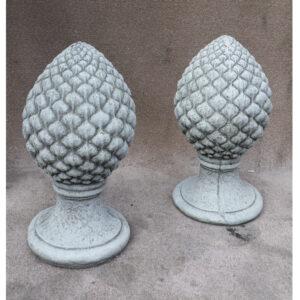 Large Acorn Pillar Caps Pair