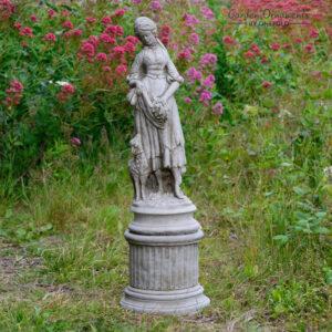 Shepherdess Stone Garden Statue on Column