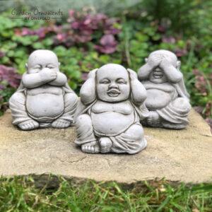 Three Wise Buddhas Garden Ornament
