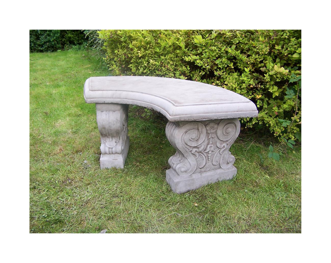 Stone Garden Bench Curved Garden Ornament 1