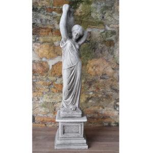 Garden Statue Urn Girl on Plinth