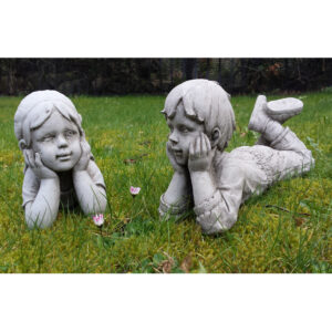 Garden Statue Lying Boy and Girl - pair