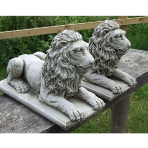 Pair Lying Lions Garden Ornament Stone Statue