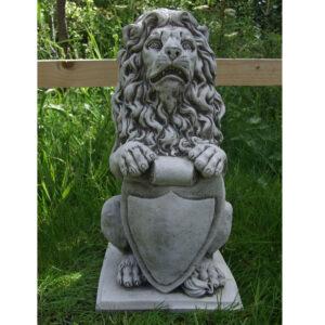 Shield Lion Garden Ornament Cast Stone