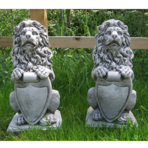Stone Pair Lion with Shield Statues