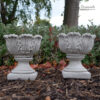 Pair of Tulip Vases Hand Cast Stone Planters Small