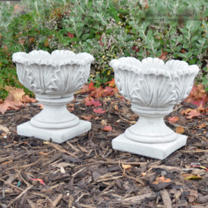 Pair of Tulip Vases Hand Cast Stone Planters Small