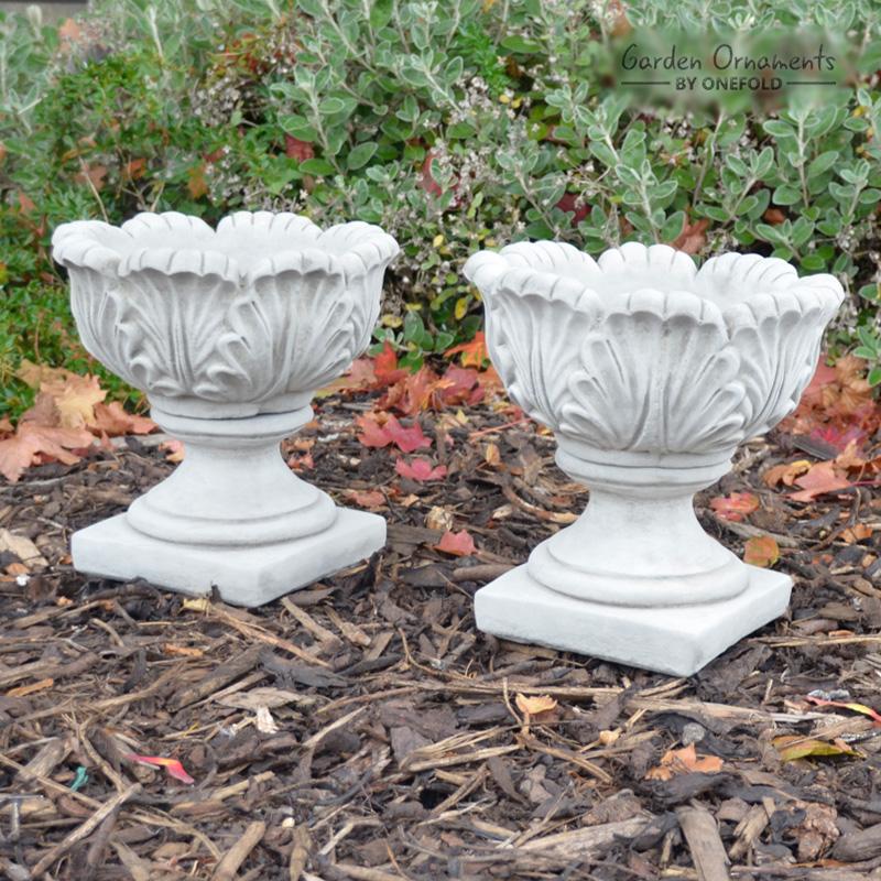 Pair of Tulip Vases Hand Cast Stone Planters Small 1