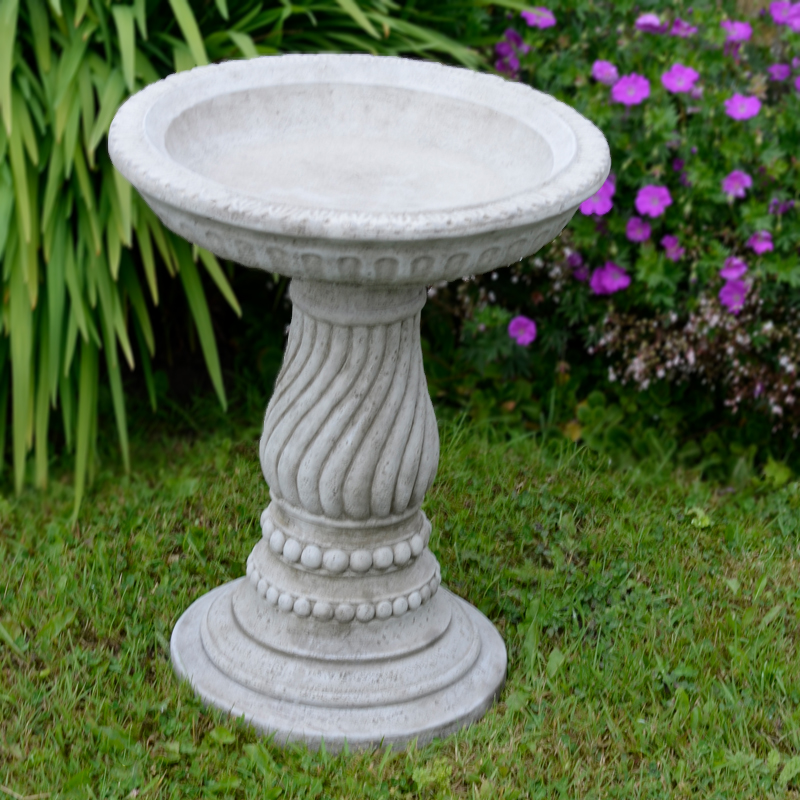Twist Bird Bath Hand Cast Stone Feeder 1