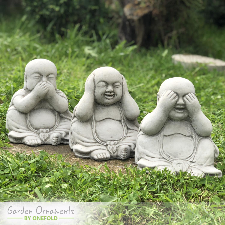 Three Wise Buddhas Garden Statue Set 1