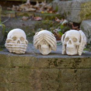 Wise Skull Set See Hear Speak No Evil Ornament